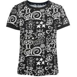 Shirt 2 w 1 bonprix jasnoszary melanż - jeżynowy z nadrukiem