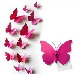 Ozdobne motylki różowe - 11 x 9 cm - 12 szt.