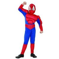 Przebrania dziecięce, Kostium dziecięcy Człowiek Pająk - Spiderman z mięśniami - M - 121/130 cm