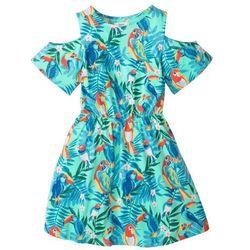 Sukienka z wycięciami na ramionach z efektem WOW bonprix miętowy z nadrukiem