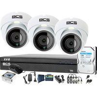 Zestawy monitoringowe, 3x BCS-DMQ2203IR3-B BCS-XVR0401-IV Zestaw monitoringu kamery rejestrator akcesoria