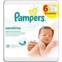 Chusteczki dla niemowląt, Chusteczki nawilżane PAMPERS Sensitive (6 x 56 sztuk) - BEZPŁATNY ODBIÓR: WROCŁAW!