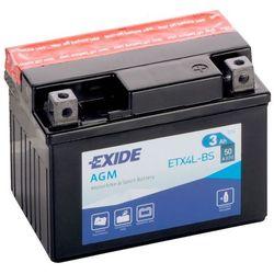 Akumulator motocyklowy EXIDE ETX4L-BS / YTX4L-BS 12V 3Ah 50A P+