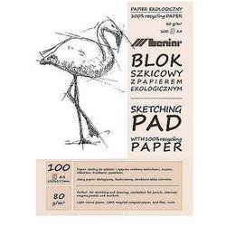 Szkicownik ekologiczny A4 100ark 80g/m2 Leniar jasny papier