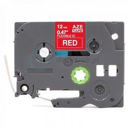 Taśma Brother Flexi TZe-FX435 czerwona/ biały nadruk 12mm x 8m zamiennik