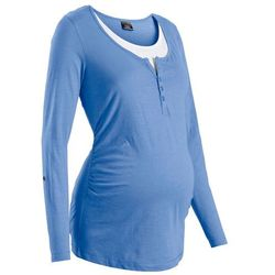 Shirt ciążowy i do karmienia, długi wywijany rękaw bonprix niebieski kryształowy