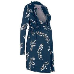 Sukienka shirtowa ciążowa i do karmienia bonprix ciemnoniebieski w kwiaty