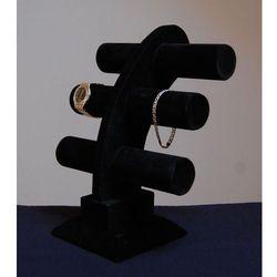 Trzy poziomowy ekspozytor do prezentacji biżuterii, zamszowy - czarny, model II