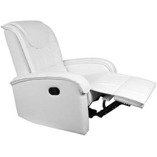 Fotele i krzesła biurowe, BIAŁY FOTEL WYPOCZYNKOWY RELAKSACYJNY + PODNÓŻEK - Biały
