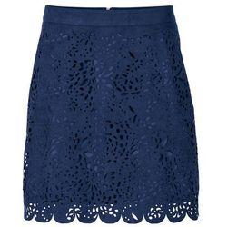 Krótka spódnica z materiału w optyce zamszu bonprix ciemnoniebieski