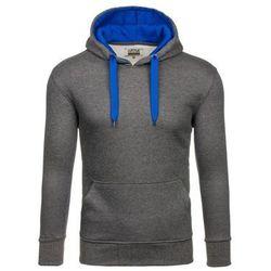Bluza męska z kapturem antracytowo-chabrowa Denley 2075-2