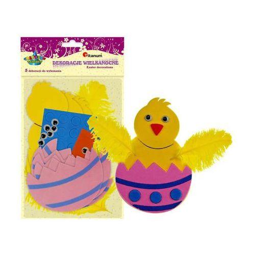 Pozostałe artykuły szkolne, Zestaw kreatywny kurczak jajko 5szt pianka 7x11cm - kurczak w skorupce
