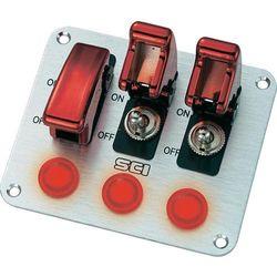 Przełącznik dźwigniowy panelowy SCI R18-P3A, 20 A/12 V, 3 przeł. ramienne/3 wskaźniki