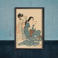 Plakaty, Plakat retro do salonu Plakat retro do salonu Kobiety czeszące włosy Ukiyo-e