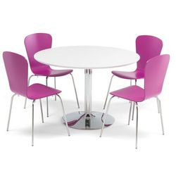 Zestaw mebli do stołówki, stół Ø1100 mm, biały, chrom + 4 fioletowe krzesła