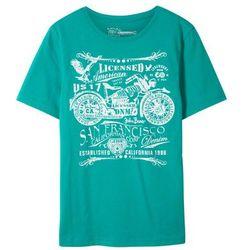 T-shirt Slim Fit bonprix szmaragdowy z nadrukiem