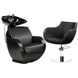 Zestaw Mebli Fryzjerskich Thomas Myjnia + 1 Fotele Czarny