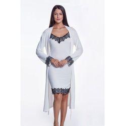 Koszula nocna damska LORA ze szlafrokiem XL Kremowy