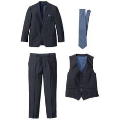 Garnitur 4-częściowy (marynarka, spodnie, kamizelka i krawat) bonprix ciemnoniebiesko-niebieski