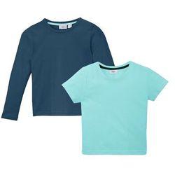 T-shirt dziewczęcy + shirt z długim rękawem (2 części) bonprix morski pastelowy - ciemnoniebieski