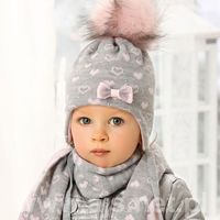 Zestawy dodatków dla dzieci, AJS 38-432 Czapka+szalik komplet