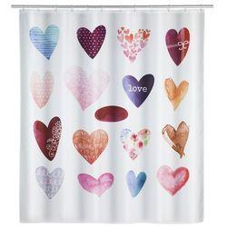 Zasłonka prysznicowa Love, grafika z serduszkami, wielokolorowa, wykonana z poliestru, wymiary 200 x 180 cm, marka WENKO