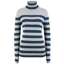 Sweter w serek bonprix ciemna oberżyna