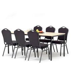 Zestaw mebli do stołówki, stół 1800x800 mm, brzoza + 6 krzeseł, czarny/czarny