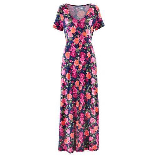 Suknie i sukienki, Długa sukienka z krótkim rękawem bonprix niebieski w kwiaty