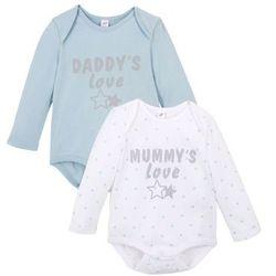 Body niemowlęce z długim rękawem (2 szt.), bawełna organiczna bonprix biały + jasnoniebieski