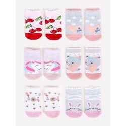 Skarpety niemowlęce frotte kolorowe 6PAK 6-9