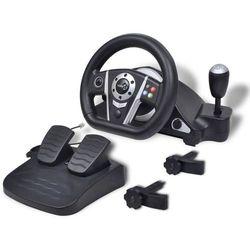 vidaXL Kierownica do gier wyścigowych PS2/PS3/PC, czarna Darmowa wysyłka i zwroty