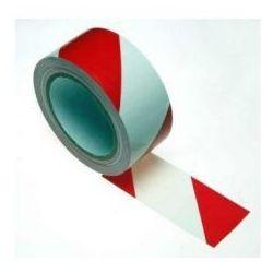 Taśma ostrzegawcza samoprzylepna biało czerwona szerokość 50 mm
