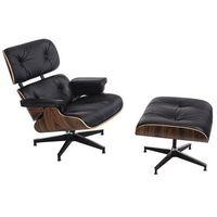 Fotele, Fotel Vip z podnóżkiem czarny - rosewood