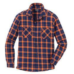 Koszula flanelowa z długim rękawem Slim Fit bonprix pomarańczowo-kobaltowy w kratę