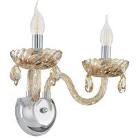 Lampy ścienne, Kinkiet lampa ścienna Eglo Brasiliano 2x40W E14 chrom/koniakowy 39097