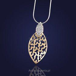 Srebrna biżuteria damska. Prześliczny srebrny wisiorek z cyrkoniami-złocony.