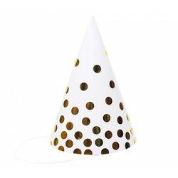 Czapeczki papierowe białe w złote groszki - 6 szt.
