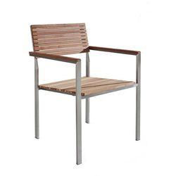 Krzesło ogrodowe - stal nierdzewna - drewno tekowe - VIAREGGIO