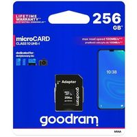 Karty pamięci, GOODRAM Karta microSD 256GB CL10 UHS I + adapter