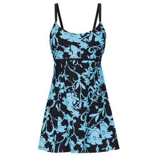 Stroje kąpielowe, Sukienka kąpielowa shape bonprix czarno-turkusowy
