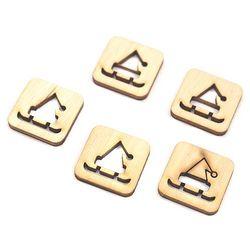 Drewniane scrapki świąteczne 5 szt -sanie z czapką - SZC Promocja Eko Deco -01 (-15%)