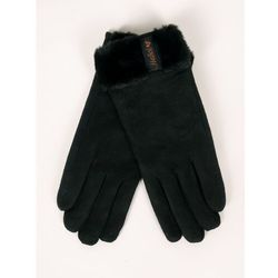 Rękawiczki kobiece czarne zamszowe z futerkiem na mankiecie 24