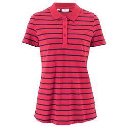 Shirt polo w paski, krótki rękaw bonprix czerwono-ciemnoniebieski