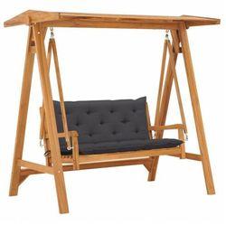 vidaXL Huśtawka ogrodowa z antracytową poduszką, 170 cm, drewno tekowe