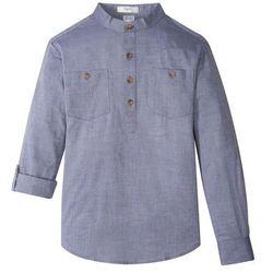Koszula z wywijanymi rękawami bonprix indygo melanż