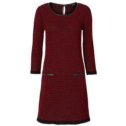 Sukienka dzianinowa bonprix czarno-ciemnoczerwony