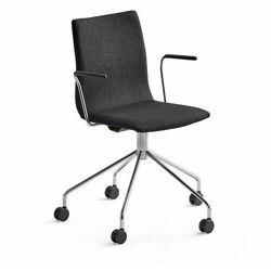 Krzesło konferencyjne OTTAWA, na nogach, podłokietniki, czarna tkanina, chrom