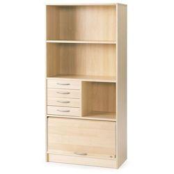 Szafa z roletą ADEPTUS, 3 półki, 1 roleta, 4 szuflady, 1725x805x415 mm, laminat, brzoza