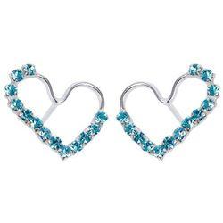 Kolczyki Serce z niebieskimi cyrkoniami